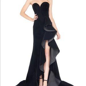 Mac Duggal Black Velvet Prom Pageant Dress, Size 6